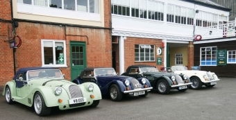 Four Morgans in a line. One a lime green +8, then a dark blue one, dark green and then white.
