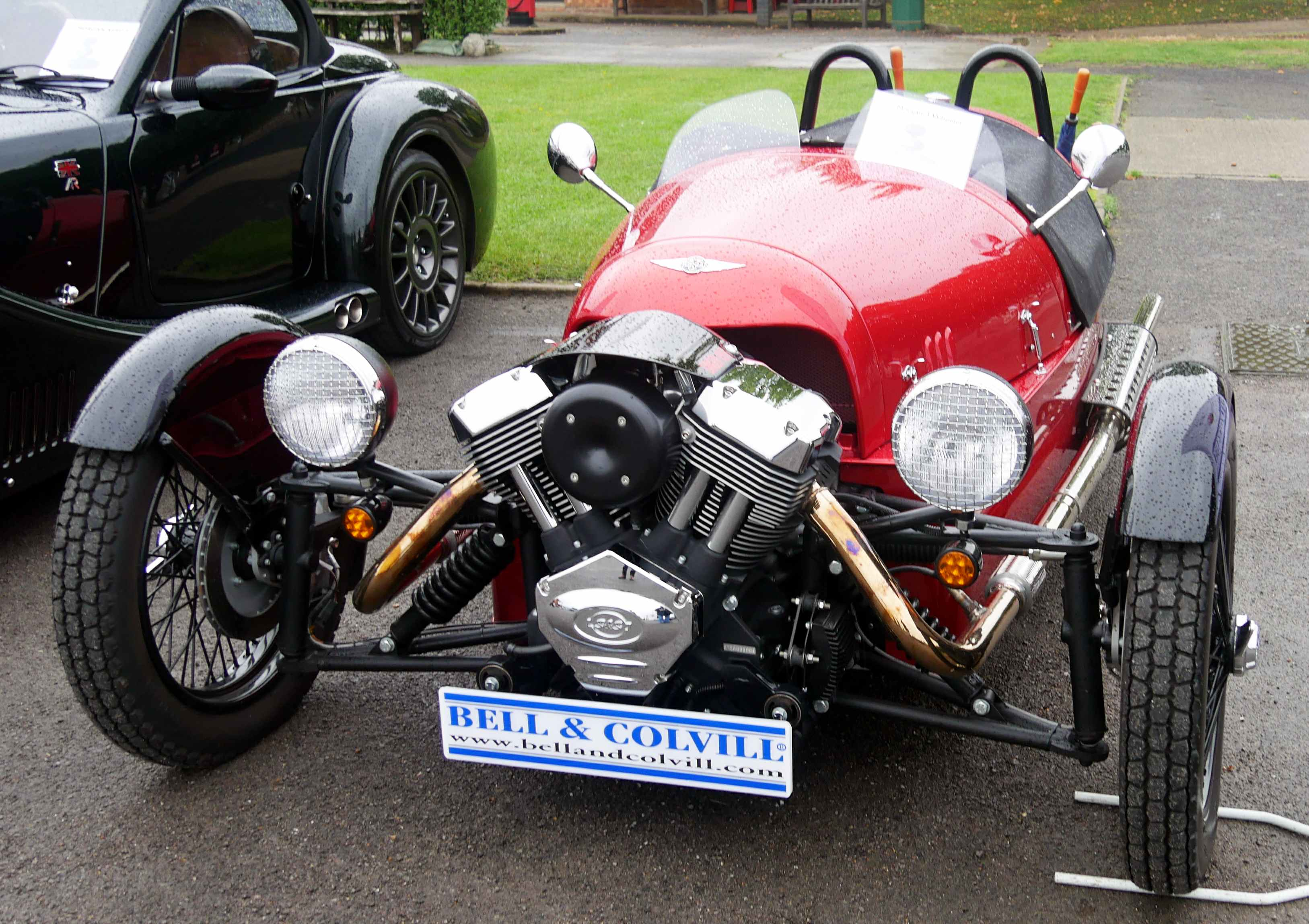 A new Morgan three-wheeler for sale at Bell and Colville. Identical sliding pillar suspension on show.
