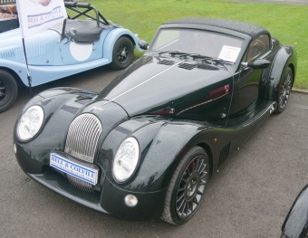 A top three-quarter view of a brand new Morgan Aero 8.