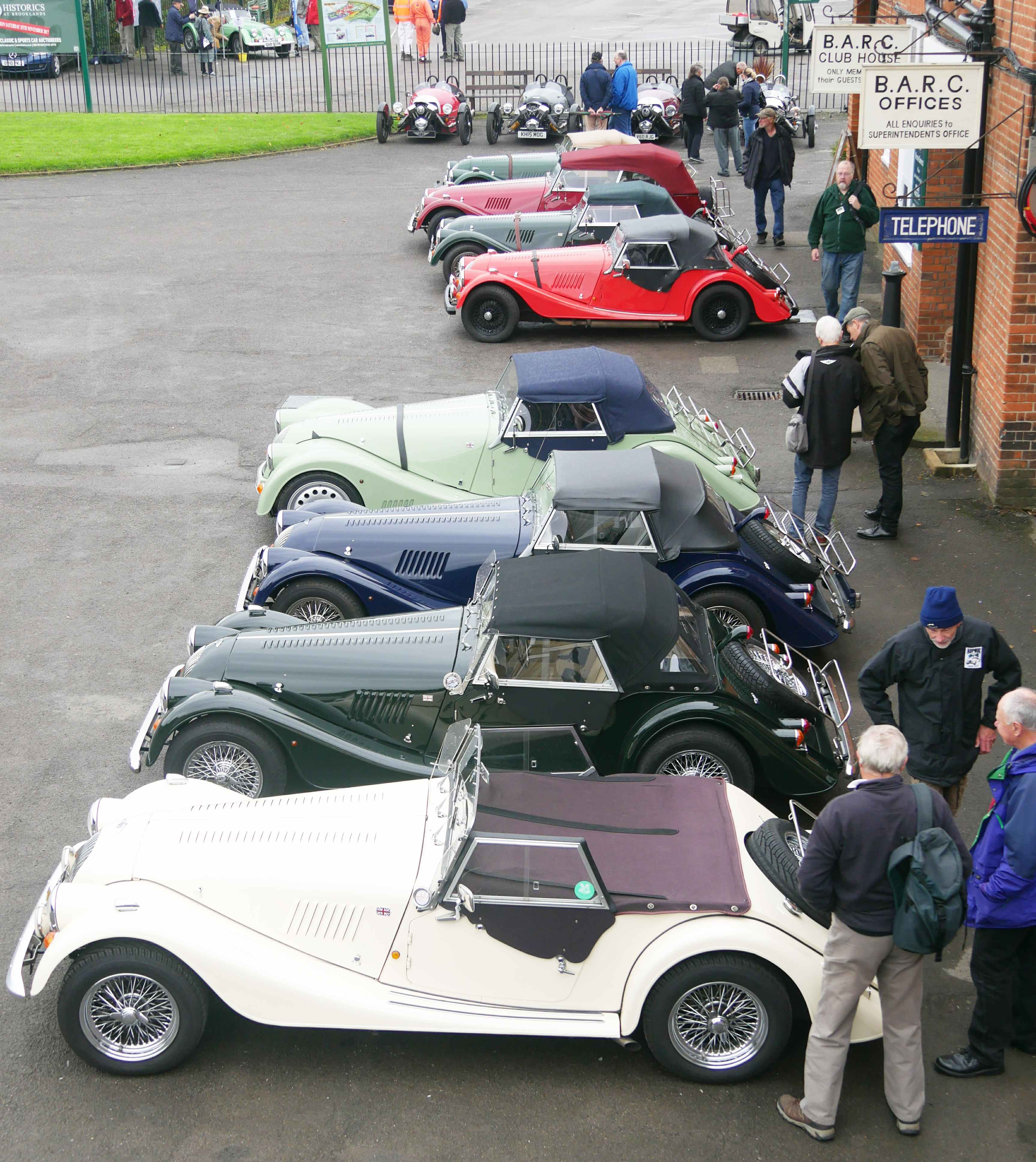 Eight old style Morgans in a line.