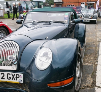 The front of an Aero 8 with a traditional Morgan behind for comparison.