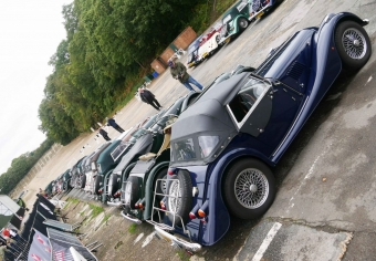 17 Morgans in two lines on the approach road to the banking.