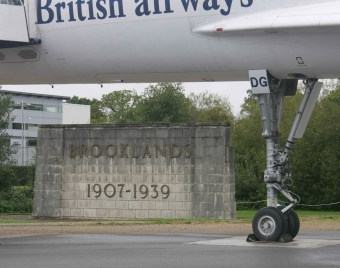 Concorde framing the Brooklands entry wall