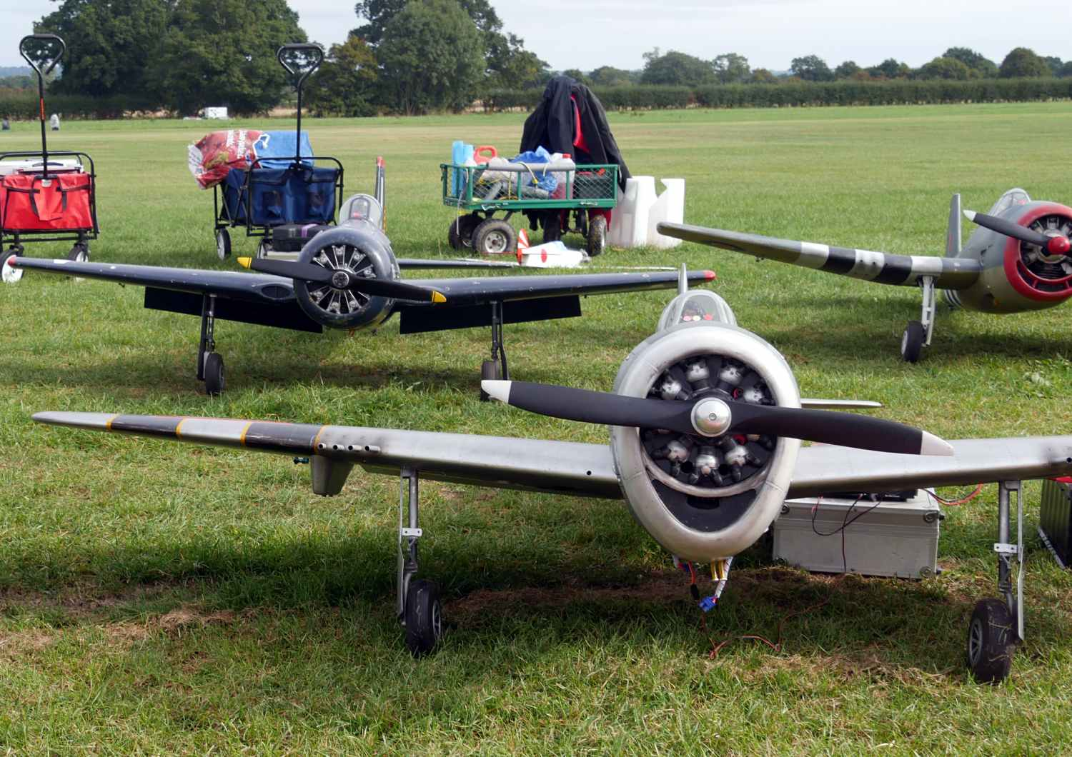 Three rotary engined large scale World War Two large scale planes