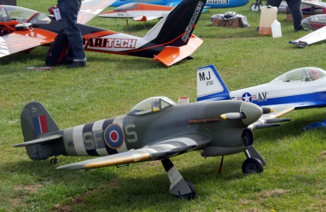 A medium scale model Hawker Typhoon with invasion stripes