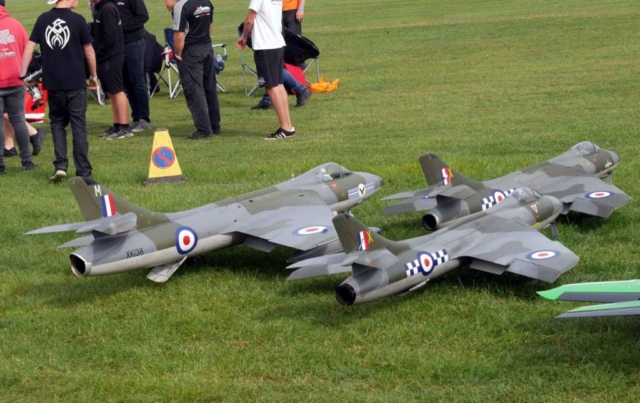 Three scale models of Hawker Hunters