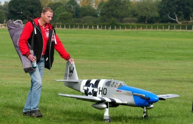 A large scale P51 sporting invasion stripes
