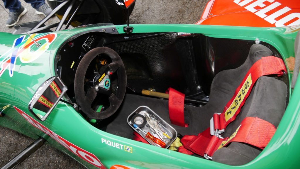 The cockpit of a Benetton
