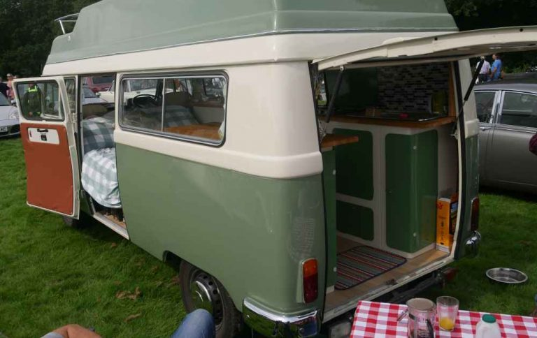 A Merc caravanette style van from the rear