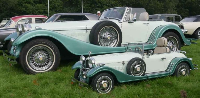 Kit car based on Midget with kids kit car replica in front