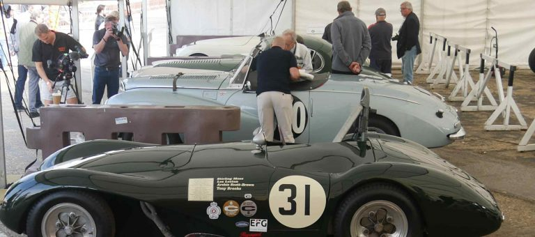 A connaught and Alpine side by side, with camera crew filming the latter